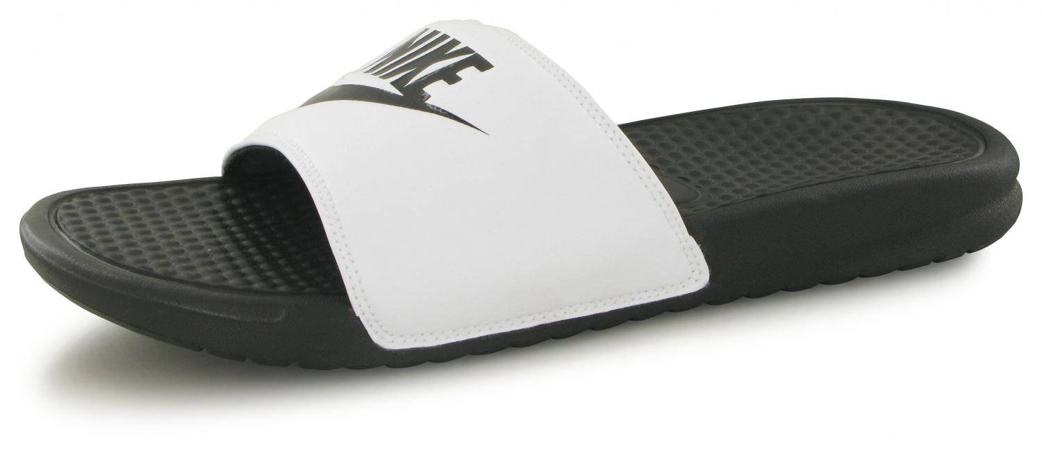 best online lace up in preview of Claquettes Nike Benassi Jdi Blanc / Noir