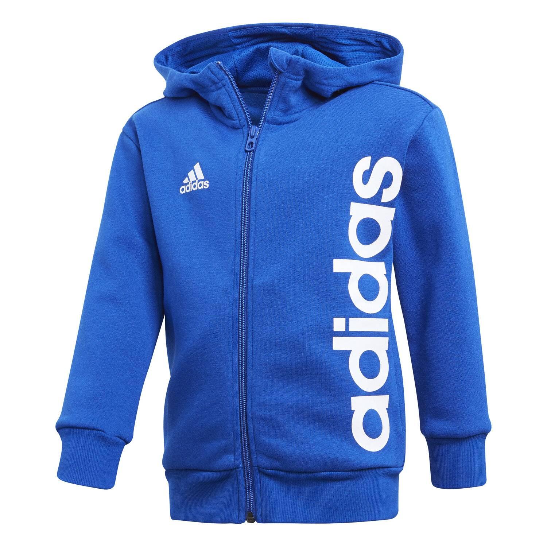 7ad78629358c8 Veste Adidas Linear Zip Hoodie Bleu Enfant