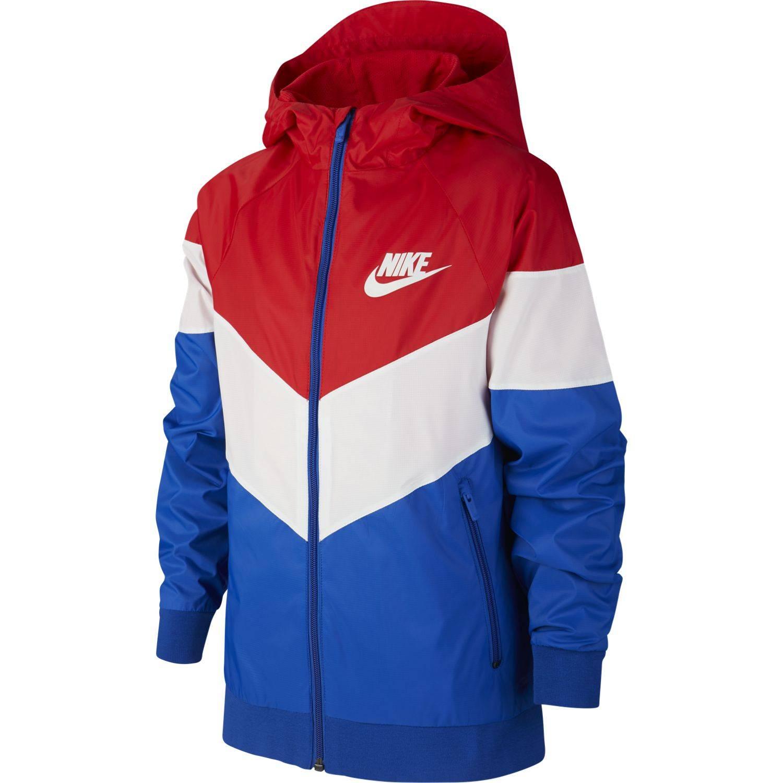 Veste Nike Sportswear Windrunner Rouge Blanc Bleu Junior