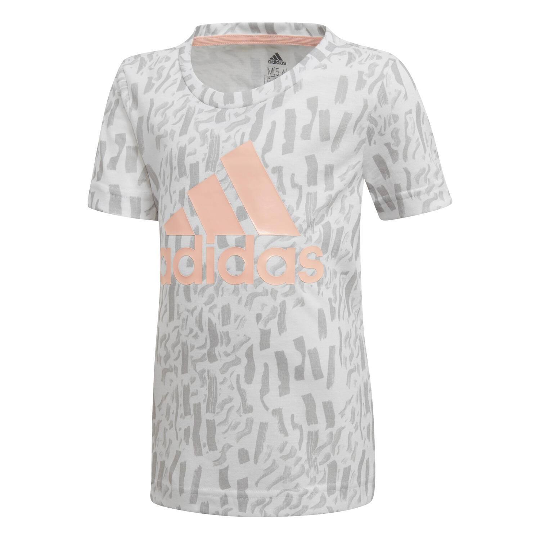 d944e1559a5e3 T-shirt Adidas Fille Badge Of Sport Blanc   Gris   Corail Enfant