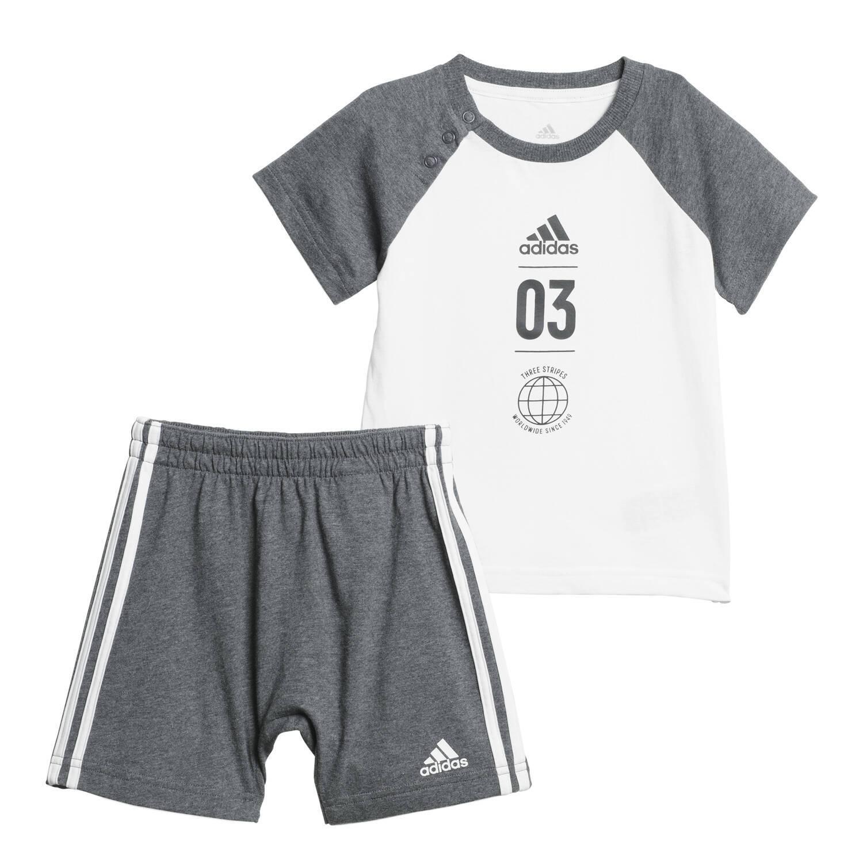 401f7d5db9ae0 Ensemble Adidas Summer Gris   Blanc Bebe