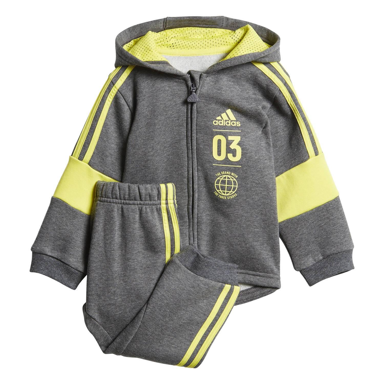 Survêtement Adidas Logo Fleece Gris / Jaune