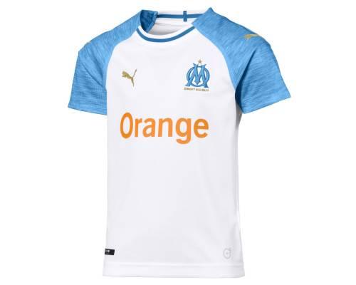 Maillot Puma Om Domicile 2018-19 Blanc / Bleu Junior