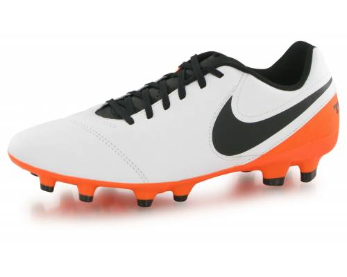 Nike Tiempo Genio 2 Leather Fg Blanc Et Orange