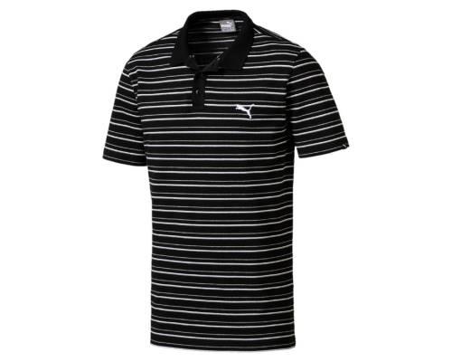 Polo Puma Essential Stripe Pique Noir