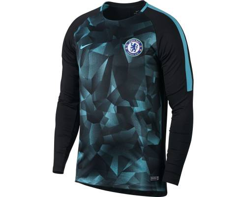 Maillot Nike Chelsea Top Crew 2017-18 Noir / Bleu