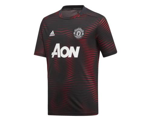 Maillot Adidas Manchester United Preshirt 2018-19 Noir / Rouge Junior