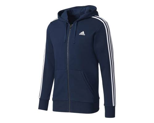 Veste Adidas Essentials 3 Stripes Fz Hood French Terry Marine