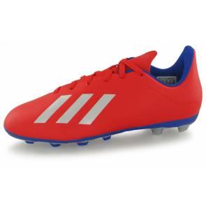Adidas X 18.4 Fg Rouge / Argent / Bleu Junior