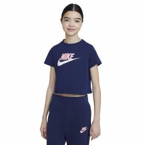 T-shirt Nike Sportswear Crop Bleu Fille