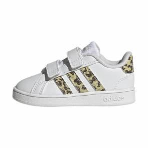 Adidas Grand Court Blanc / Leopard Bebe