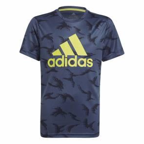 T-shirt Adidas Designed To Move Camo Bleu Enfant